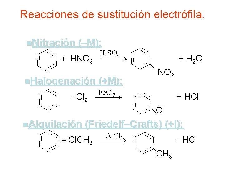 Reacciones de sustitución electrófila. n. Nitración (–M): H 2 SO 4 + HNO 3