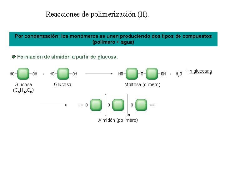 Reacciones de polimerización (II). Por condensación: los monómeros se unen produciendo dos tipos de