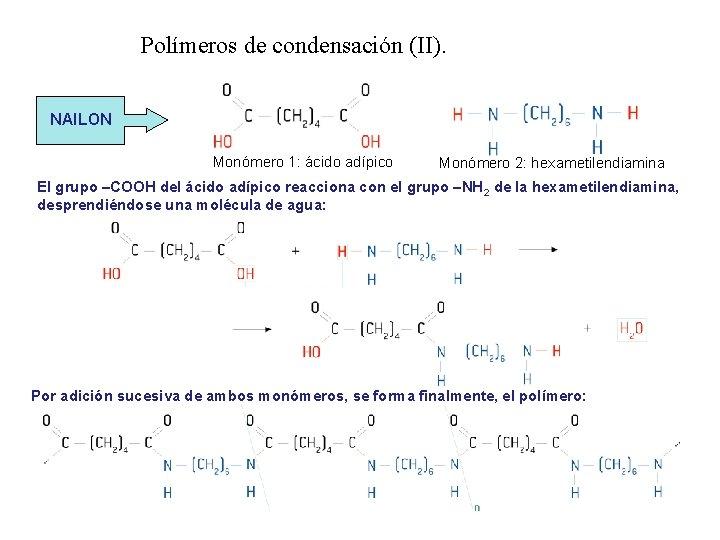 Polímeros de condensación (II). NAILON Monómero 1: ácido adípico Monómero 2: hexametilendiamina El grupo