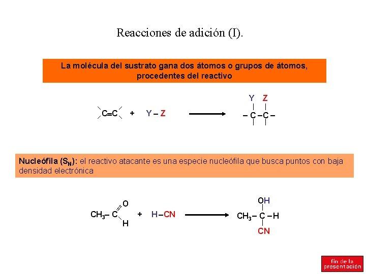 Reacciones de adición (I). La molécula del sustrato gana dos átomos o grupos de