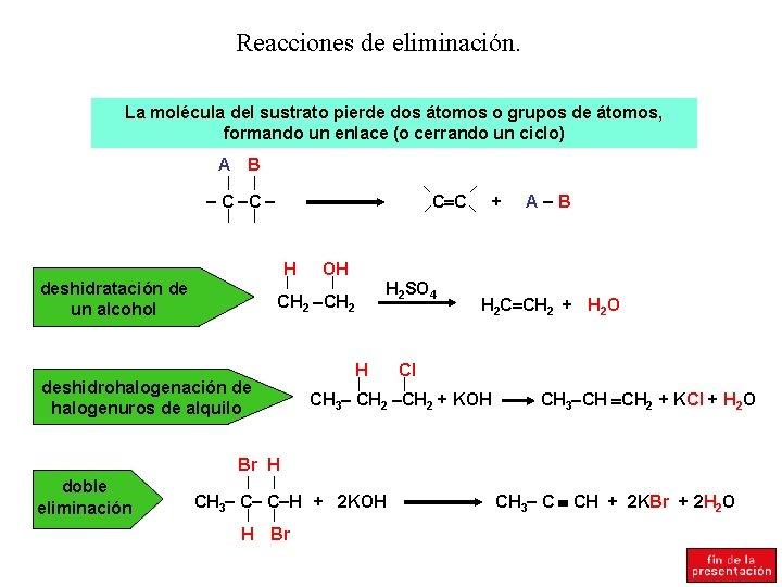 Reacciones de eliminación. La molécula del sustrato pierde dos átomos o grupos de átomos,