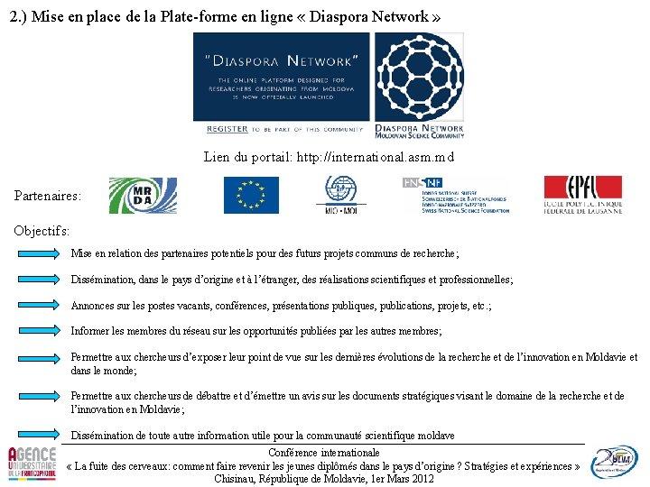 2. ) Mise en place de la Plate-forme en ligne « Diaspora Network »