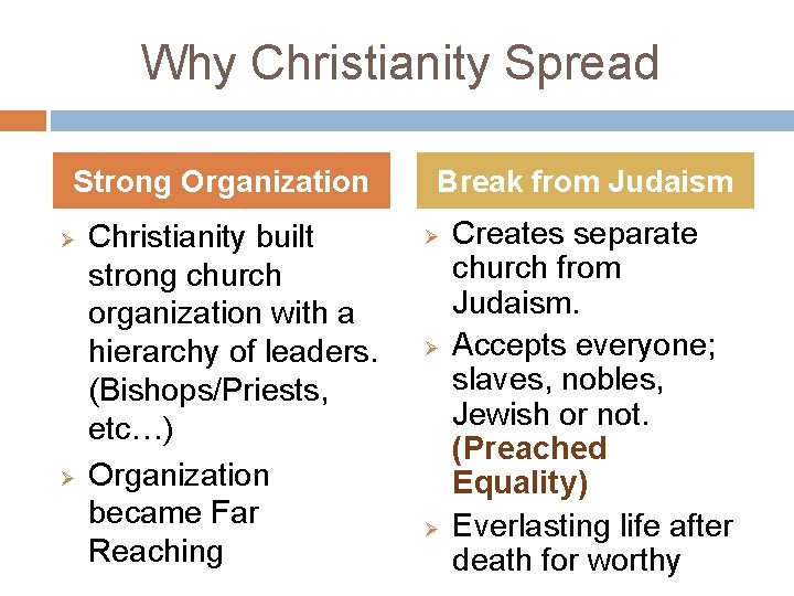 Why Christianity Spread Strong Organization Ø Ø Christianity built strong church organization with a