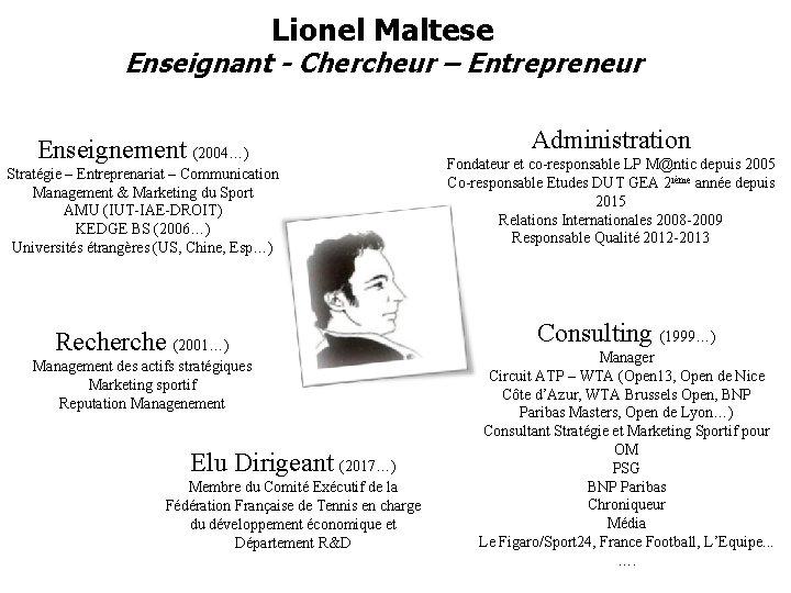 Lionel Maltese Enseignant - Chercheur – Entrepreneur Enseignement (2004…) Stratégie – Entreprenariat – Communication