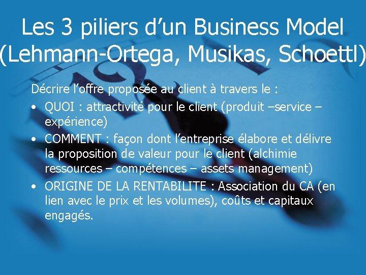 Les 3 piliers d'un Business Model (Lehmann-Ortega, Musikas, Schoettl) Décrire l'offre proposée au client