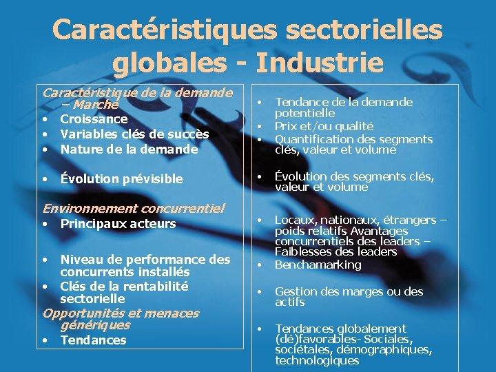 Caractéristiques sectorielles globales - Industrie Caractéristique de la demande – Marché • Croissance •