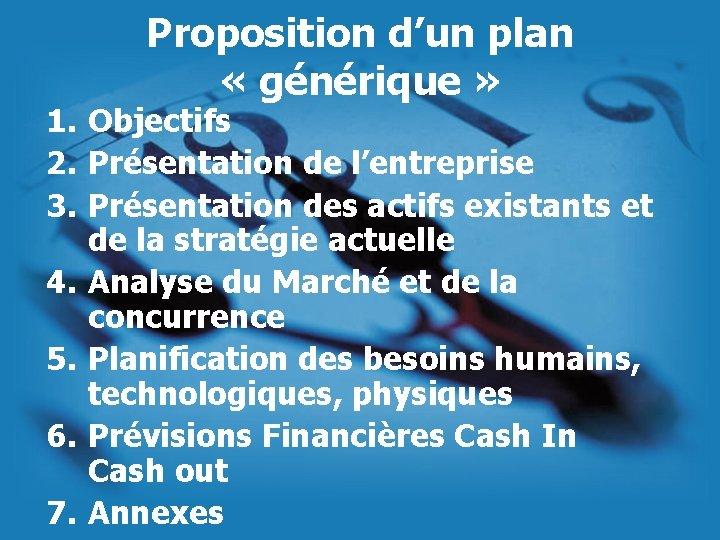 Proposition d'un plan « générique » 1. Objectifs 2. Présentation de l'entreprise 3. Présentation