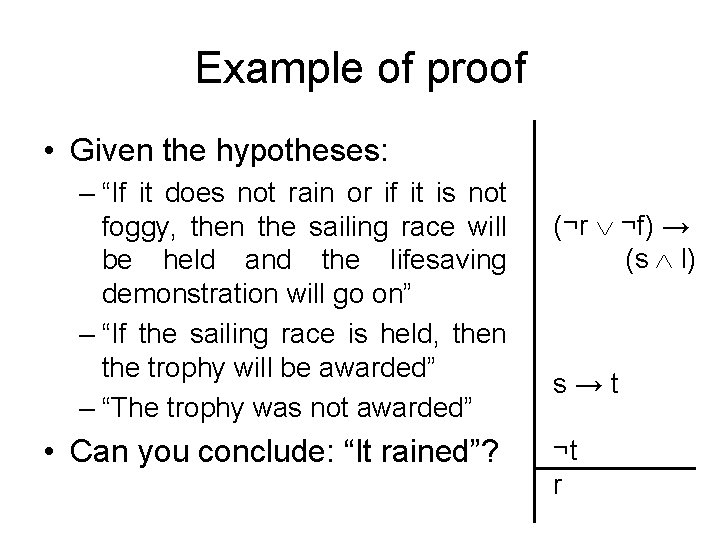 """Example of proof • Given the hypotheses: – """"If it does not rain or"""
