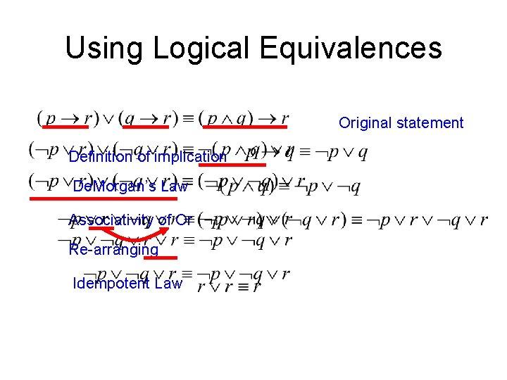 Using Logical Equivalences Original statement Definition of implication De. Morgan's Law Associativity of Or
