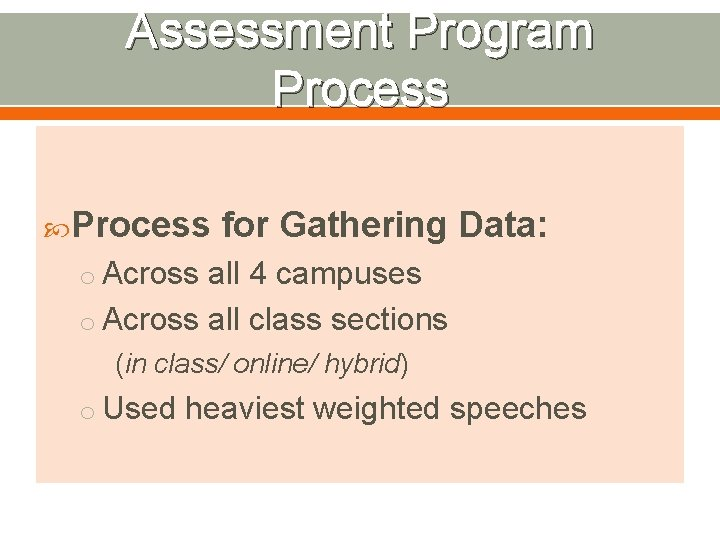 Assessment Program Process for Gathering Data: o Across all 4 campuses o Across all