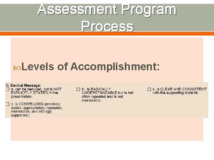 Assessment Program Process Levels of Accomplishment: