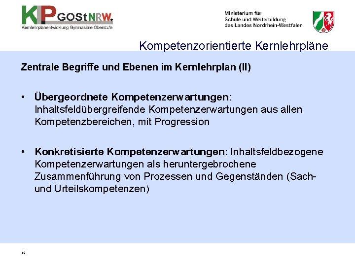 Kompetenzorientierte Kernlehrpläne Zentrale Begriffe und Ebenen im Kernlehrplan (II) • Übergeordnete Kompetenzerwartungen: Inhaltsfeldübergreifende Kompetenzerwartungen