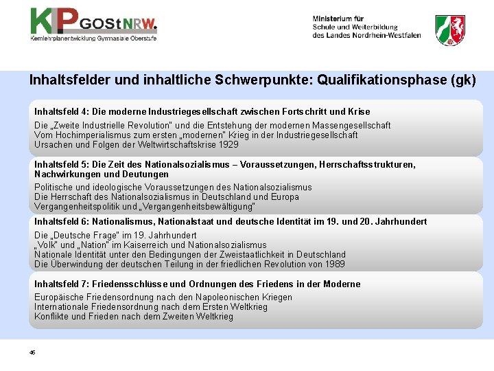 Inhaltsfelder und inhaltliche Schwerpunkte: Qualifikationsphase (gk) Inhaltsfeld 4: Die moderne Industriegesellschaft zwischen Fortschritt und