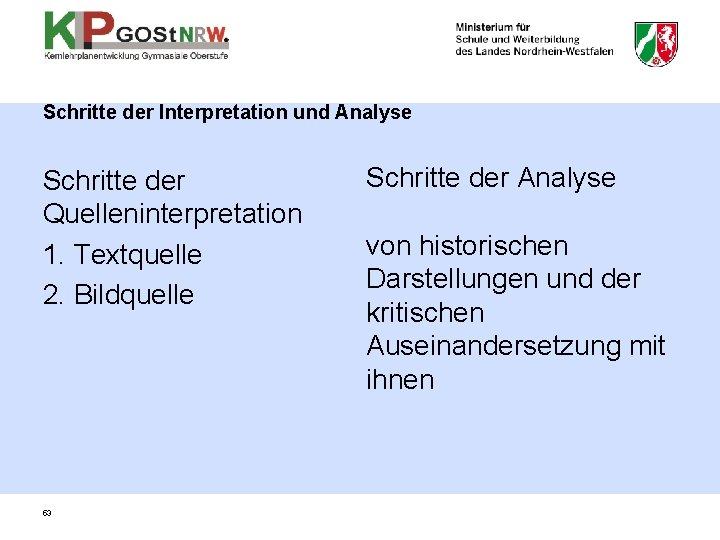 Schritte der Interpretation und Analyse Schritte der Quelleninterpretation 1. Textquelle 2. Bildquelle 53 Schritte