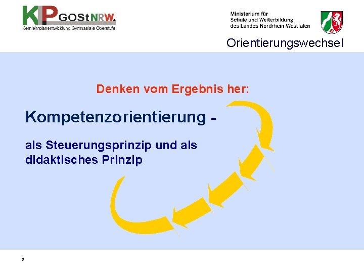 Orientierungswechsel Denken vom Ergebnis her: Kompetenzorientierung als Steuerungsprinzip und als didaktisches Prinzip 6