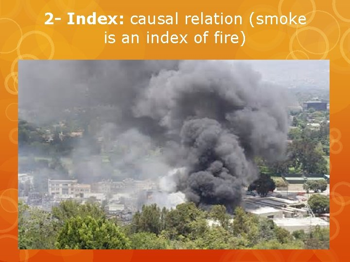 2 - Index: causal relation (smoke is an index of fire)