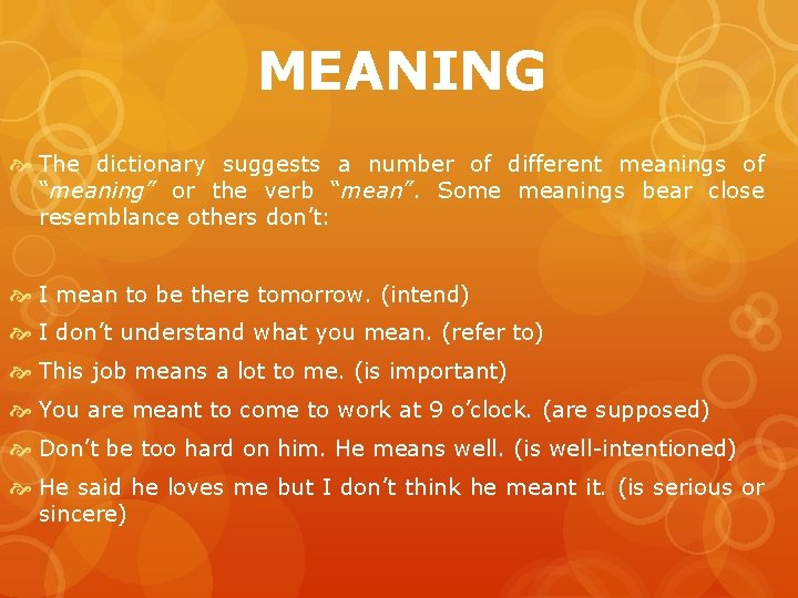 """MEANING The dictionary suggests a number of different meanings of """"meaning"""" or the verb"""