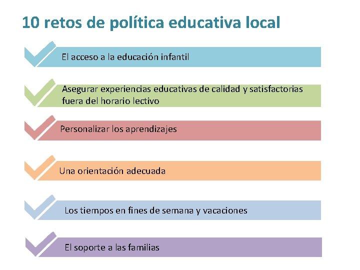10 retos de política educativa local El acceso a la educación infantil Asegurar experiencias