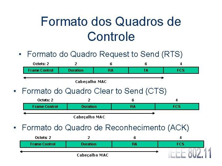 Formato dos Quadros de Controle • Formato do Quadro Request to Send (RTS) Octets:
