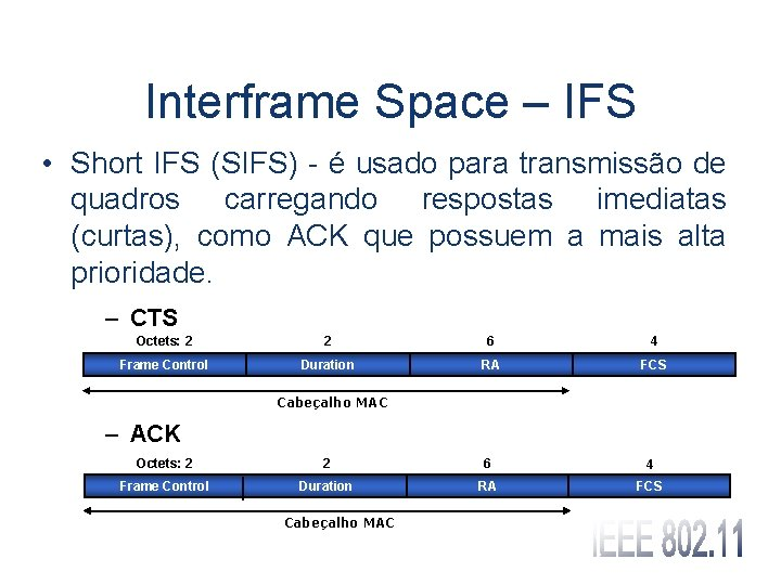 Interframe Space – IFS • Short IFS (SIFS) - é usado para transmissão de
