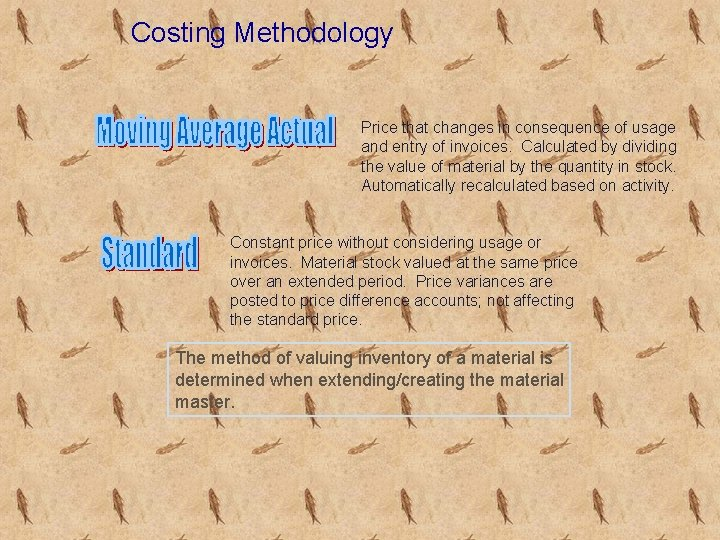 Costing Methodology Price that changes in consequence of usage and entry of invoices. Calculated