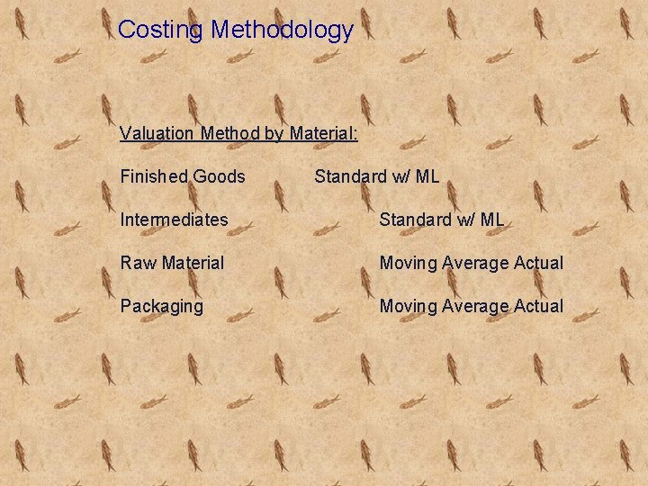 Costing Methodology Valuation Method by Material: Finished Goods Standard w/ ML Intermediates Standard w/