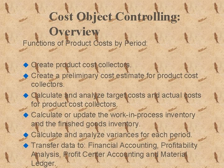 Cost Object Controlling: Overview Functions of Product Costs by Period: u u u Create