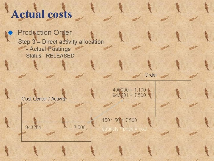 Actual costs u Production Order Step 3 – Direct activity allocation - Actual Postings