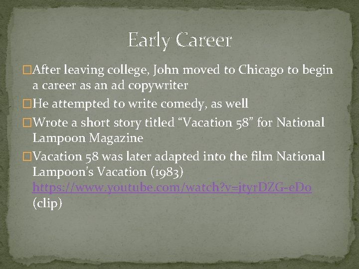 Early Career �After leaving college, John moved to Chicago to begin a career as