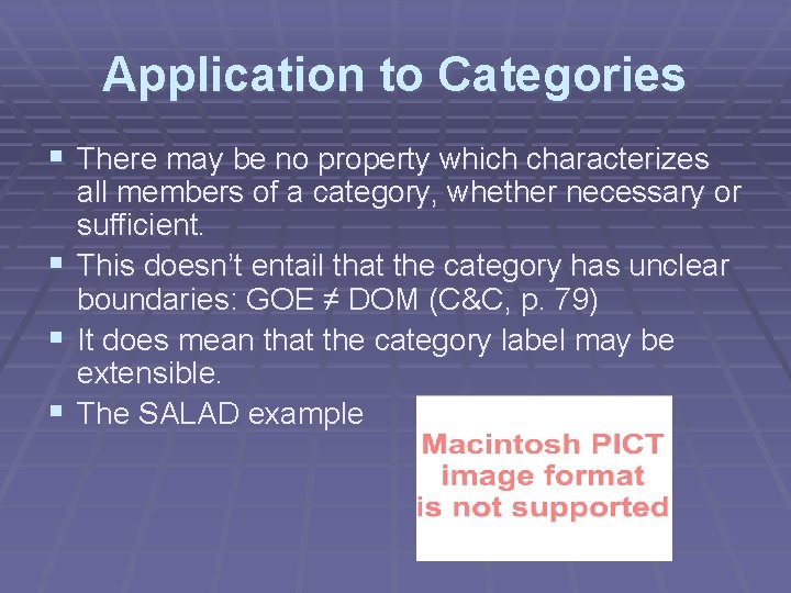 Application to Categories § There may be no property which characterizes § § §