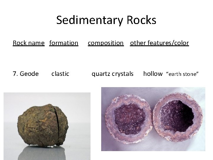 Sedimentary Rocks Rock name formation 7. Geode clastic composition other features/color quartz crystals hollow