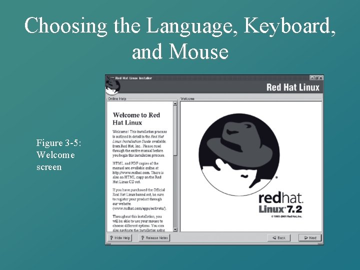 Choosing the Language, Keyboard, and Mouse Figure 3 -5: Welcome screen