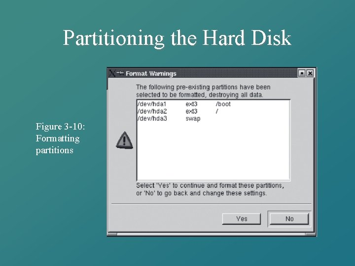 Partitioning the Hard Disk Figure 3 -10: Formatting partitions