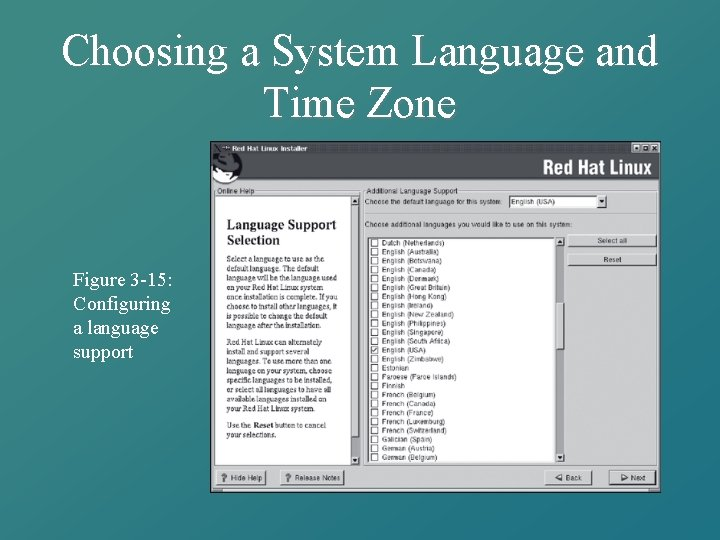 Choosing a System Language and Time Zone Figure 3 -15: Configuring a language support