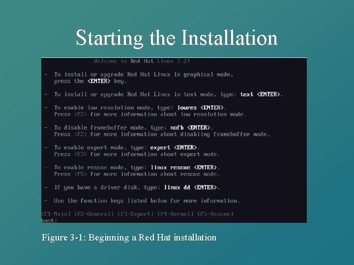 Starting the Installation Figure 3 -1: Beginning a Red Hat installation