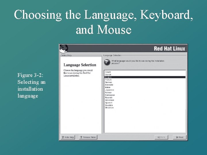 Choosing the Language, Keyboard, and Mouse Figure 3 -2: Selecting an installation language