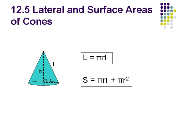 12. 5 Lateral and Surface Areas of Cones l L = πrl h r