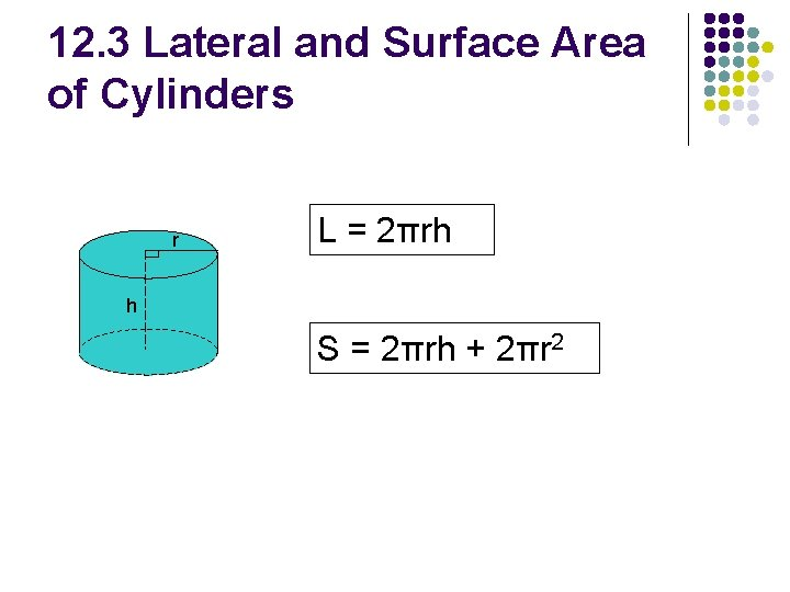 12. 3 Lateral and Surface Area of Cylinders r L = 2πrh h S