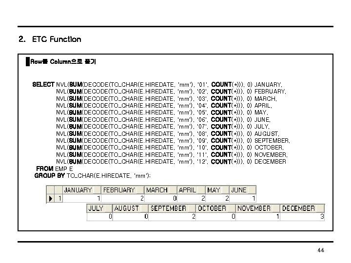 2. ETC Function Row를 Column으로 풀기 SELECT NVL(SUM(DECODE(TO_CHAR(E. HIREDATE, 'mm'), '01', COUNT(*))), 0) JANUARY,