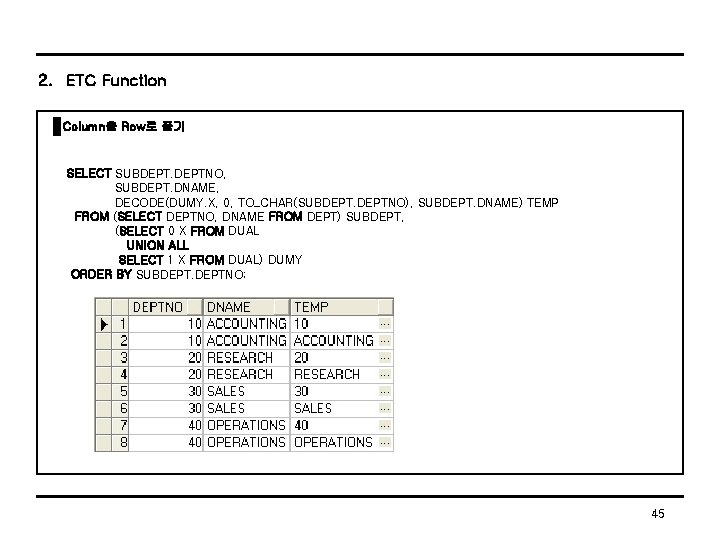 2. ETC Function Column을 Row로 풀기 SELECT SUBDEPTNO, SUBDEPT. DNAME, DECODE(DUMY. X, 0, TO_CHAR(SUBDEPTNO),