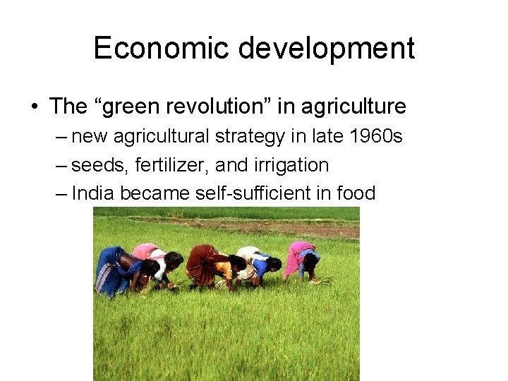 """Economic development • The """"green revolution"""" in agriculture – new agricultural strategy in late"""