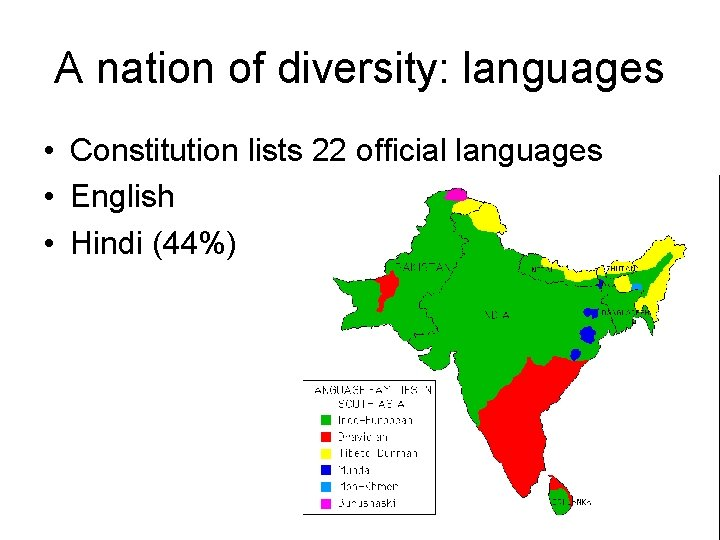 A nation of diversity: languages • Constitution lists 22 official languages • English •