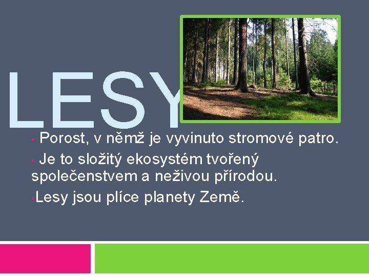 LESY Porost, v němž je vyvinuto stromové patro. • Je to složitý ekosystém tvořený