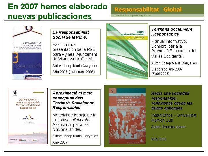 En 2007 hemos elaborado nuevas publicaciones La Responsabilitat Social de la Pime. Fascículo de