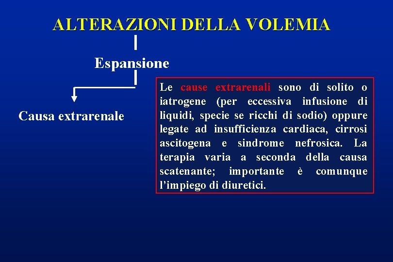 ALTERAZIONI DELLA VOLEMIA Espansione Causa extrarenale Le cause extrarenali sono di solito o iatrogene