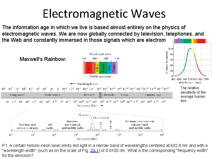 Electromagnetic Waves The information age in which we live is based almost entirely on