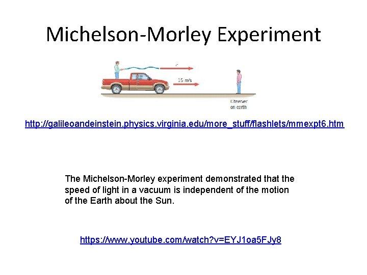 Michelson-Morley Experiment http: //galileoandeinstein. physics. virginia. edu/more_stuff/flashlets/mmexpt 6. htm The Michelson-Morley experiment demonstrated that