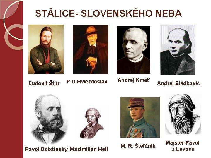 STÁLICE- SLOVENSKÉHO NEBA Ľudovít Štúr P. O. Hviezdoslav Pavol Dobšinský Maximilián Hell Andrej Kmeť