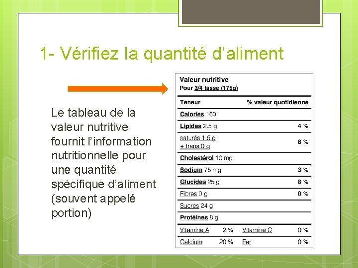 1 - Vérifiez la quantité d'aliment Le tableau de la valeur nutritive fournit l'information