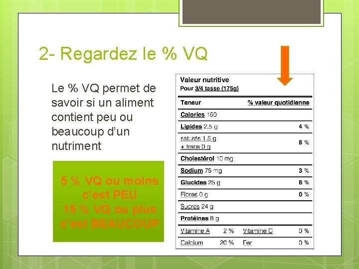 2 - Regardez le % VQ Le % VQ permet de savoir si un